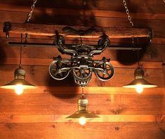 Gorgeous Antique Rustic Hay Trolley Yoke Chandelier Barn Cabin Light by LukesnHyde on Etsy https://www.etsy.com/listing/275749056/gorgeous-antique-rustic-hay-trolley-yoke