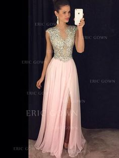 A-Line/Princess Chiffon Evening Dresses Beading Split Front Scoop Neck Sleeveless Floor-Length - Evening Dresses - miragown Mother Of The Bride Dresses Long, Prom Dresses Long With Sleeves, Chiffon Evening Dresses, Plus Size Prom Dresses, Ball Dresses, Evening Gowns, Pretty Dresses, Beautiful Dresses, Prom Dress Shopping