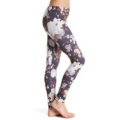 HUE Floral Seamless Legging ($17) ❤ liked on Polyvore featuring pants, leggings, grey, gray pants, grey leggings, floral printed leggings, flower print leggings and hue pants