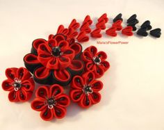 Kanzashi with falls hair comb-UK hair by MARIASFLOWERPOWER on Etsy