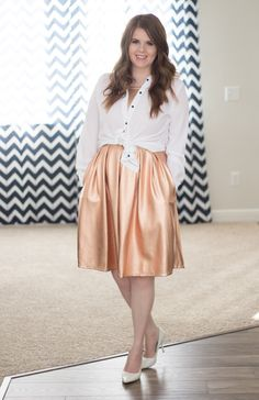 Rose gold Lularoe Amelia dress, white pumps and a white tied blouse. Lularoe Amelia outfit. @lularoe