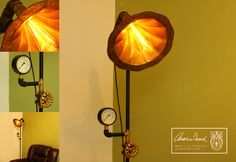 LUMINARIA - Floor lamp using a gramophone cone to difuse light with a manometer stand a metal triangle old microphone base. Very beautiful orange colour tone effect to decorate and light special environment.