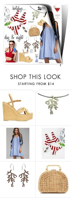 """""""Holidays day & night..."""" by giampourasjewel ❤ liked on Polyvore featuring Yves Saint Laurent, Schutz, Kayu, Lancôme, vacation, stripedpants, crazyforfashion, shein and greekislands"""