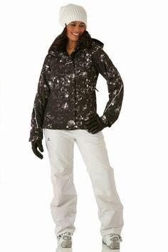 Raquel in black & white mottled pattern on her ski jacket.