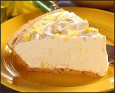 """LEMON PIE This is a Weight Watchers recipe with 148 calories, 3.5 grams fat, and 1 gram fiber per slice. 1 Box (0.3 oz.) Sugar Free Lemon Jell-O 1/4 Cup Boiling Water 2 (6 oz.) Light Lemon Yogurt 1 (8 oz.) Fat-free Whipped Topping (thawed) 1 Prepared 9"""" Reduced Fat Graham Cracker Pie Crust http://www.themerchandiser.com/cooking-corner"""