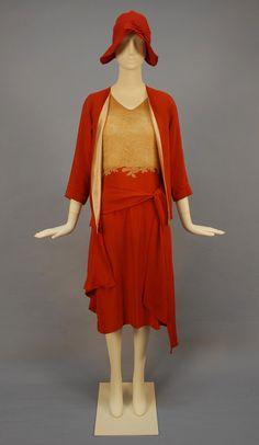 Deco silk and lace ensemble  ca. 1930