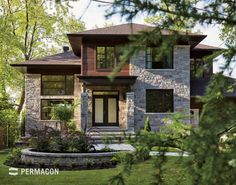 Permacon Lafitt Stone in Range Margaux Beige. House Outside Design, Old Stone Houses, Dream House Exterior, Home Room Design, House Front, Modern House Design, Exterior Design, Home Fashion, Modern Architecture