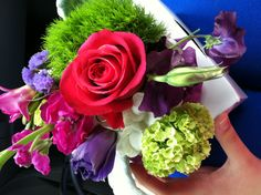 Beautiful, colorful wedding flowers! Magenta, plum, bright green, white. Love it.