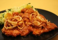 Lyoni sertésszelet Lyon, No Cook Meals, Spaghetti, Food And Drink, Pork, Menu, Chicken, Cooking, Ethnic Recipes