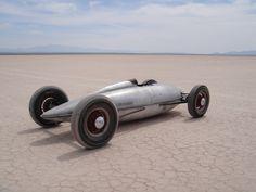 Retro racer on Bonneville Salt Flats