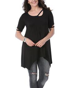 Look what I found on #zulily! Black Cutout Handkerchief Tunic - Plus #zulilyfinds