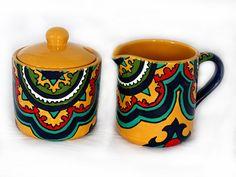 "Yellow, Cobalt Blue & Teal Talavera Style Cream and Sugar Bowl Set -- ""Classic Medallion"""