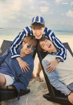 J-Hope (Hoseok), Rap Monster (Namjoon) and Jin BTS Summer Package 2017 Source: Twitter @chimtae_D
