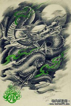 Desenho em preto e branco de uma dragão oriental