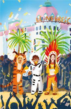 Carnaval à Nice © Pioupiourico - illustration Georgia Noël-Wolinski. #culturefrançaise #france #patrimoine #jeu #enfant #famille #transmission #tradition #7familles #familyfirst