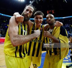 Luigi Datome, #70 of Fenerbahce Istanbul, Bogdan Bogdanovic, #13 of Fenerbahce Istanbul and Ricky Hickman, #3 of Fenerbahce Istanbul celebrate victory during the Turkish Airlines Euroleague Basketball Top 16 Round 5 game between Fenerbahce Istanbul v Cedevita Zagreb at Ulker Sports Arena on January 28, 2016 in Istanbul, Turkey.