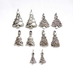 10 Assorted Antique Silver Christmas Tree Charms - 21-62-5 by TreeChild1 on Etsy