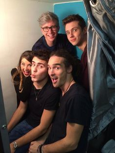 Youtubers- Top- Tyler (left), Troye (right)  Bottom- Zoe (left), Alfie (middle), Louis (right)