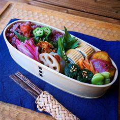 2016.5.16 残り物でいつものお弁当 * * 今週もみんなが幸せに過ごせますように * * #曲げわっぱ #お弁当 #地味弁 #bento #Japaneselunch #foodpic #instafood #手ぬぐい #藍染 #残り物 #作り置きおかず #常備菜 #高塚和則