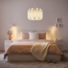 MOJNA Pendant lamp shade - textile, white - IKEA Ikea Bedroom, Bedroom Lamps, Bedroom Lighting, Bedroom Decor, White Bedroom, Bedroom Light Shades, Ikea Sortiment, Ikea Lighting, Soft Surroundings