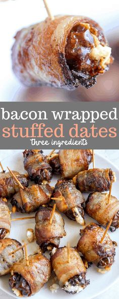 An easy, three-ingredient appetizer that is perfect for all your football watch parties and upcoming holiday gatherings! These bacon wrapped dates stuffed with goat cheese are the idea combination of sweet, salty, and creamy. #erinliveswhole #bacon #baconwrappeddates #appetizers Bacon Appetizers, Appetizer Recipes, Snack Recipes, Game Recipes, Holiday Appetizers, Healthy Appetizers, Healthy Meals, Recipies, Healthy Recipes