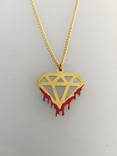 Bloody diamond pendant Brass Alquimist art 2015