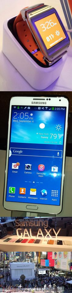 Dick Tracy would be proud: The Samsung Galaxy Gear Android watch pairs wirelessly to the new Samsung Galaxy Note 3 giant phone/mini tablet. Find a contact on the watch's 1.6-inch color display, tap the phone number and it dials on the 5.7-inch full HD display on the Galaxy Note 3. The $299 Galaxy Gear has a speakerphone, preloaded apps like TripIt and Glympse and a small camera in the wristband. Both @Carol Van De Maele Van De Maele Knutson Mobile US units will be available worldwide Sept…