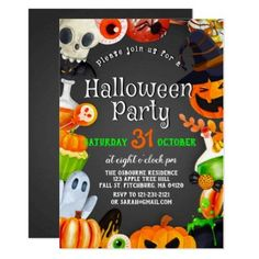 Shop Spooky Chic Wicked Witch Halloween Pumpkin Party Invitation created by PonyCreative. Personalize it with photos & text or purchase as is! Halloween Birthday, Halloween Kids, Halloween Pumpkins, Halloween Stuff, Halloween Invitations Kids, Halloween Party Invitations, Pumpkin Invitation, Invitation Cards, Witch Party