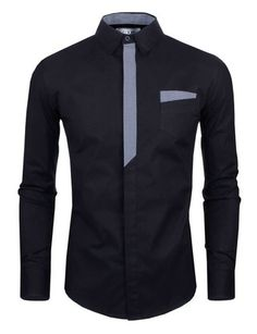 Personality Color Block Plaid Button Fly Slimming Turn-down Collar Long Sleeves Men's Shirt Note: Sizes are Asian. See Size Conversion chart before ordering! Stylish Shirts, Trendy Outfits, Casual Shirts, Fashion Outfits, Shirts For Men, Mens Designer Shirts, Dapper Men, Men Dress, Dress Shirt
