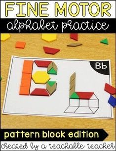 Pattern block letter mats for every letter of the alphabet! Build fine motor skills while building all alphabet letters.Pattern block letter mats are designed for fine motor practice + letter practice for kinesthetic learners. Great for morning tubs, learning centers, free play, and more! | learning letters of the alphabet worksheets | build a letter template | early reading activities | pattern block templates printables TPT | preschool teacher resources