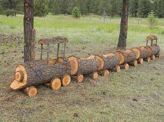 awesome #train #wood #containergarndeing / Cute log train planter. Via: s-media-cache-ak...