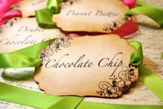 Items similar to Vintage Inspired Candy Buffet Labels on Skewers - Set of 5 You Choose Ribbon Color on Etsy Food On Sticks, Food Names, Candy Buffet, Name Cards, Ribbon Colors, Skewers, Dessert Table, Party Time, Vintage Inspired