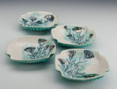 "Set of 4 Small Plates, by Julia Galloway, Soda-fired porcelain with luster, 5.75"" x 5"" x 1.5x each. From her ""Recent Work"" exhibition at AKAR, Iowa City, Iowa."