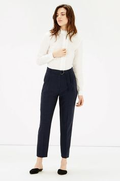 Warehouse, BELTED PEG TROUSERS NAVY 2