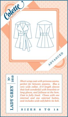 Lady Grey Coat Pattern by Colette Patterns by greysfabric on Etsy, $20.00