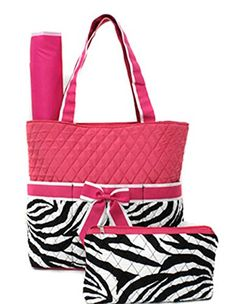 3 Piece Set Quilted Zebra Print Diaper Bag W Changing Pad Cosmetic Purse