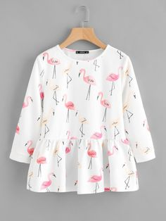 SheIn offers Allover Flamingo Print Smock Top & more to fit your fashionable needs. Source by judako - Indian Fashion Dresses, Girls Fashion Clothes, Teen Fashion Outfits, Mode Outfits, Trendy Fashion, Girl Fashion, Fast Fashion, Fashion Online, Stylish Dresses For Girls