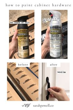 Cheap and Easy DIY How to Spray Paint Cabinet Hardware — Sarah Powell – diy kitchen decor on a budget Spray Paint Cabinets, Painting Kitchen Cabinets, Kitchen Paint, Kitchen Redo, Rustoleum Spray Paint, Cheap Kitchen, Kitchen Cabinet Hardware, Drawer Hardware, Cabinet Handles