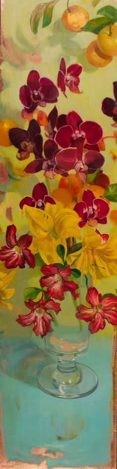 Tall Day Lilies and Orichids on Blue | From a unique collection of still-life paintings at https://www.1stdibs.com/art/paintings/still-life-paintings/