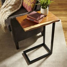 Rectangular Live Edge C-Table. Better with brass base and with a drawer Furniture, Live Edge Coffee Table, Interior, Diy Side Table, Furniture Plans, Home Decor, Living Room Table, C Table, Live Edge Furniture