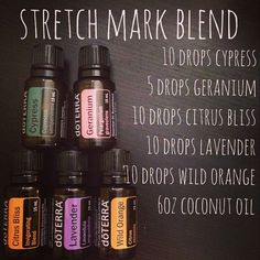 Stretch Mark Blend...I mixed these ingredients in a glass spray bottle and will be applying daily. It's designed to help prevent AND lighten existing stretch marks. http://oilpoweredmom.com/