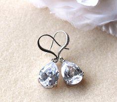 Wedding Jewelry Bridal Earrings Sparkling Clear white Luxury teardrop cubic zirconia Earrings cz silver hook wedding party bridesmaid gift on Etsy