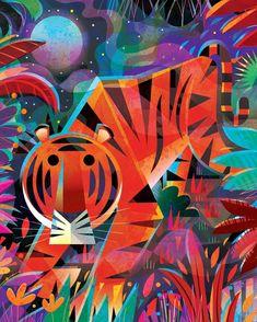 "Gareth Lucas on Instagram: ""Tiger stalking in the jungle at night✨ ....a bank holiday doodle 🐯 ... .. . #adobeillustrator #tiger #tigerlove #eyeofthetiger…"" Illustration Artists, Children's Book Illustration, Digital Illustration, Book Cover Design, Book Design, Tiger Love, Tiger Tiger, Best Book Covers, Illustrators On Instagram"