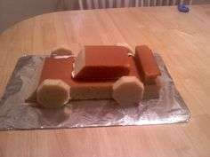 Race Car Cake before icing