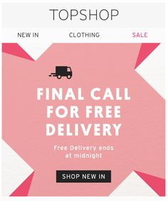 Topshop free delivery email