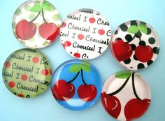 Cherry Magnets  Inch Circle Glass  Set of by StuckTogetherMagnets, $10.50    Cute!