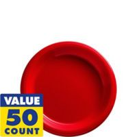 Red Plastic Dinner Plates 50ct - Party City