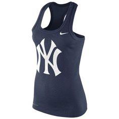 Nike New York Yankees Ladies Logo Performance Racerback Tank Top - Navy Blue