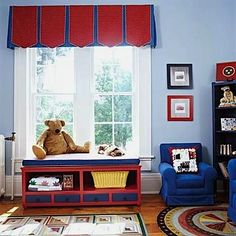 pleated valance for boys bedroom ideas Light blue walls with dark blue & red accents Boys Space Bedroom, Playroom Storage, Kids Storage, Storage Ideas, Kids Room Curtains, Kids Toy Store, Light Blue Walls, Toy Rooms, Kids Rooms