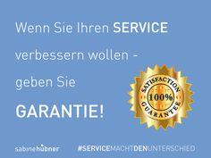 """»Wenn meine Kunden meiner Kompetenz vertrauen, brauche ich keine Service-Garantien mehr«. Stimmt, doch verschenken Sie einen Nebeneffekt, den Prof. Blümelhuber (Univ. Libre de Bruxelles) so beschrieben hat: """"Garantien führen zu einer niedrigeren Fehlerquote"""". In einem von ihm untersuchten Fall verließen in einer Firma vor Einführung der Garantie 5 % der Lieferungen zu spät das Haus und nach Publikation der Garantie 0,1 %. www.sabinehuebner.de *Quelle: Blümelhuber, Christian…"""